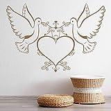 HGFDHG Calcomanía de Pared de pájaro de Amor corazón de Paloma Pegatina de Vinilo para Puerta y Ventana Pareja romántica Dormitorio Sala de Estar decoración del hogar Mural Creativo