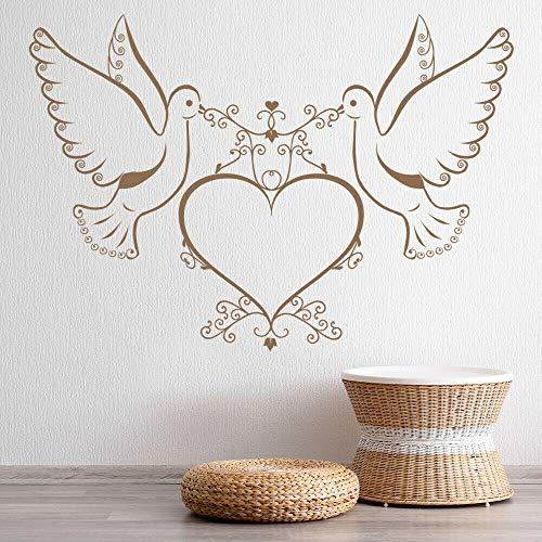 Amor pájaro pared calcomanía paloma corazón vinilo puerta y ventana pegatina pareja romántica dormitorio sala de estar decoración del hogar Mural creativo