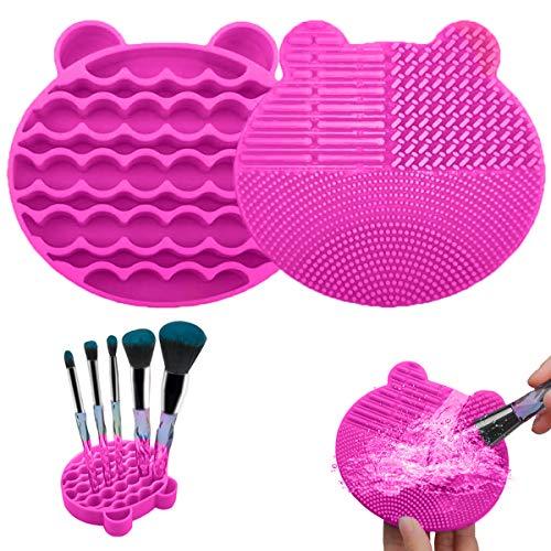 Limpieza Cosmético Cepillo Limpieza de Silicona, Limpiador de brochas de maquillaje de silicona 2 en 1 bandeja de secador para Maquillaje Cepillos y Maquillaje (Red)