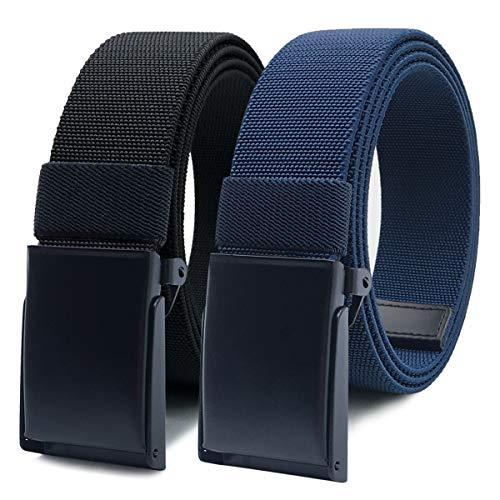 WYuZe Nylon Elastic Stretch Belt-2 Pack Men Casual Golf Belt Military Metal Buckle (Black+Blue, Fits pant up to 42')