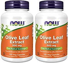 Now Foods Olive Leaf Extract 500mg Standardized to 6% Oleuropein, 120 Vcaps (2 Pack)