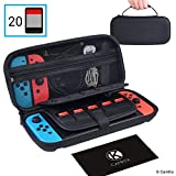 CamKix Case Compatible with Nintendo Switch - Protects Your Nintendo Switch, Joy Cons, Games and Accessories - Protective Hard Shell Storage - Fits 20 Games - Zippered Mesh Pocket