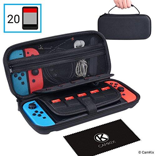 CamKix Opberg en Reis Case compatibel met Nintendo Switch - Beschermt je Nintendo Switch, Joy Cons, Games en Accessoires - Beschermende Hard Shell Storage - Past 20 Games - Mesh vak met ritssluiting