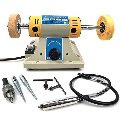 Bench Buffer Polisher 350W Mini Jewelry Rock Polishing Grinding Buffer Machine, Variable Speed 0~10000 RPM
