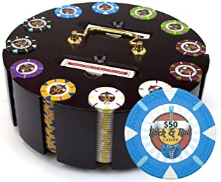 Claysmith Gaming 300-Count 'Rock & Roll' Poker Chip Set in Wooden Carouse, 13.5gm