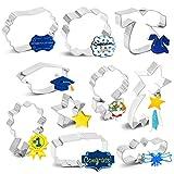 10PCS 2021 Graduation Cookie Cutter Set - Graduation Cap, Diploma, Star,Gown,Plaque Frame,Medallion,Bouquet Party Supplies Decorations