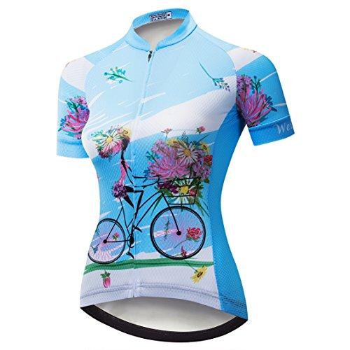 Maglia Ciclismo Donne Mountain Bike Jersey Camicie Manica Corta Strada Bicicletta Abbigliamento MTB Top Estate Vestiti - - etichetta L = petto 86/92 cm
