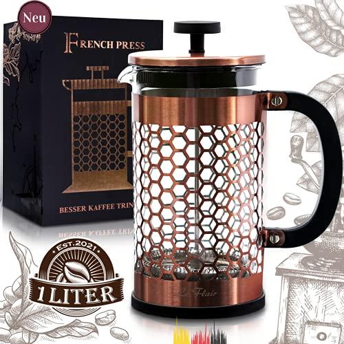 Le Flair® French Press für 1 Liter Kaffee - Kupfer Tee Presskanne aus Glas - Kaffeebereiter inkl. Original Kupfer Design Verpackung - Pressstempelkanne für Kaffeezubereitung - Kaffeeaufbereiter 1L