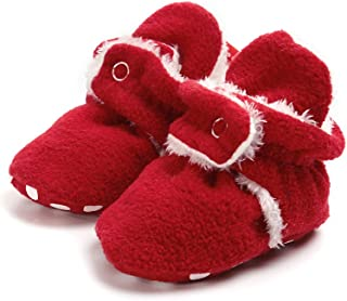 Newborn Cozie Fleece Bootie, Unisex Infant Toddler Slippers Crib Shoes Warm Boots with Non Skid Bottom