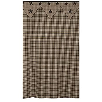 IHF New Vintage Star Black Shower Curtain Bathroom Cotton Fabric 72 x 72 Inches