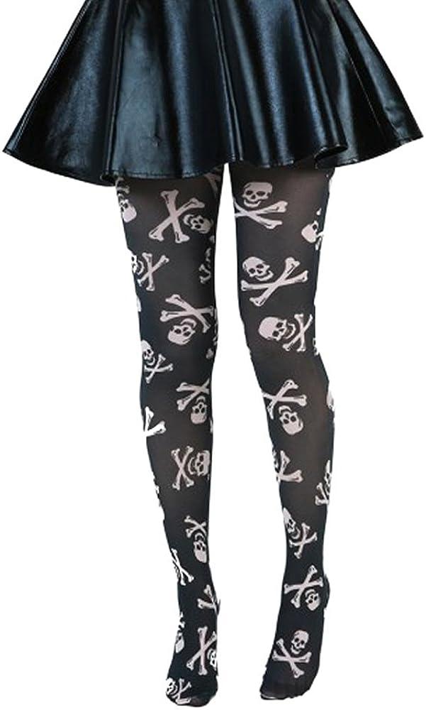 Pamela Mann Skull & Crossbones Printed Tights - Black
