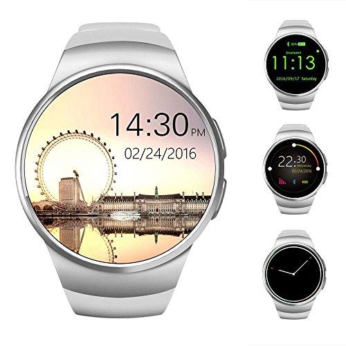 AWOW Smart Watch,3,3 cm IPS Touch Screen Impermeabile Bluetooth Smartwatch Telefono con Slot per Scheda SIM, Sleep Monitor, Cardiofrequenzimetro e Pedometro per Dispositivi iOS e Android (Bianco)
