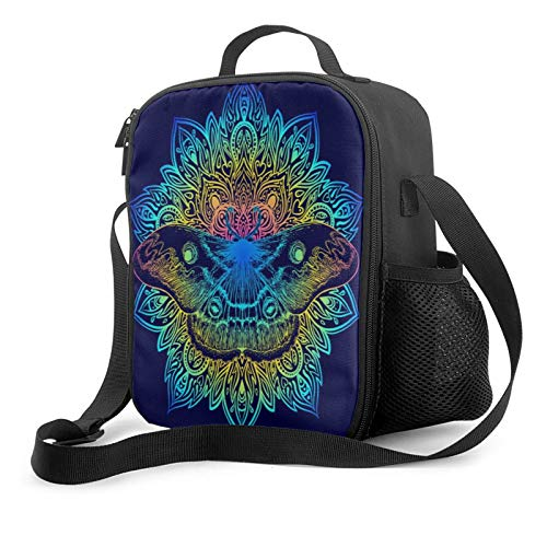 Lunch Bags For Women Men Beautiful Mandala Moth Vintage Tattoo Indigo Insulated Meal Prep Lunch Box Kids Girls Adult Ladies Thermal Cooler Lunch Tote Bag Portable Personalized Leakproof Washable