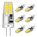 G4 LED Bulb T3 JC Bi-Pin Base 3W AC/DC 12V Daylight White 6000K 20W-25W Halogen Bulb Replacement for Under Cabinet Puck Light, Chandelier, RV, Landscape Lighting (6 Pack)