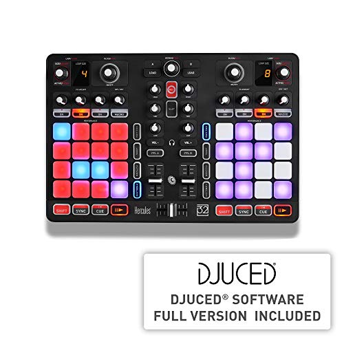 Hercules P32 DJ (2-Deck DJ Controller, 32 Performance-Pads, integr. Soundkarte, DJUCED, PC / Mac)