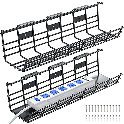 Under Desk Cable Management Tray, 2 Pack Super Sturdy Desk Wire Management Organizer, Metal Cord Management Rack, 34in Cable Tray Basket, 2X L17x W4.1x H4.7in, Black