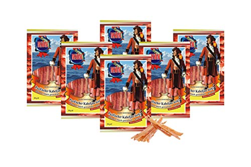 Pazifischer Kabeljau Jerky Pikant - (6 x 36g Pack) Natur Snack getrocknet u. gesalzen I Low Carb I High Protein I Fitness Snack I Trockenfisch mit Chilli reich an Omega 3 I für Männer u. Frauen