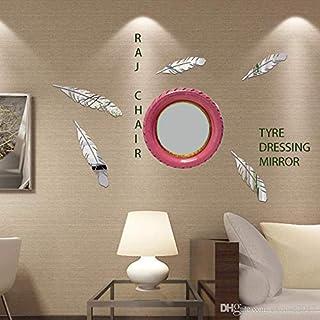 RAJ CHAIR Dressing Mirror, tyre Mirror, Round Mirror, Wall Mirror, 5mm Best Mirror Set of - 1 Piece in {red & Yellow} (Pink, 17 inch)