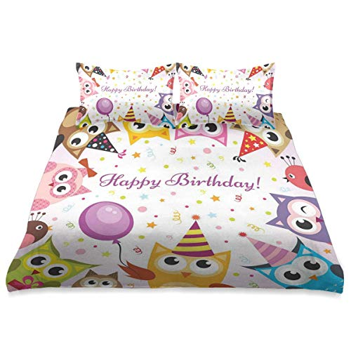 Bettbezug, Geburtstagsfeier Eulenfamilie mit bunten Kegelhüten Konfetti Hintergrund, 3 Stück Mikrofaser Bettwäsche Set Ultra Softness Komfortables modernes Design