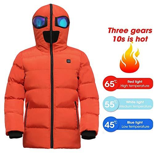 DONG Gilet Chauffant Enfants USB Charge Chauffage Veste en Coton Garçons Filles Chauffage électrique Intelligent Veste Costume Ski Chaud,Orange-M