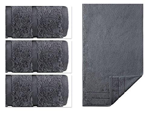 Egeria Handtuchset l 4-teiliges Frottierset l PRESTIGE 3x Handtuch 50x100, 1x Duschtuch 75x160 l Stone