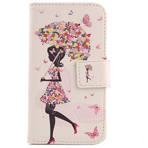 Lankashi PU Flip Leder Tasche Hülle Case Cover Handytasche Schutzhülle Etui Skin Für ZTE Nubia NX523J Z11 Max (Umbrella Girl Design)