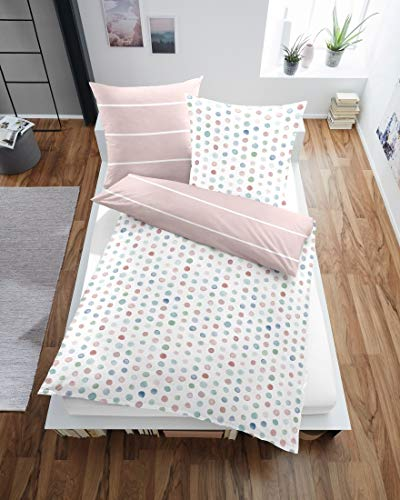 Dormisette Mako-Satin Bettwäsche Punkte bunt 1 Bettbezug 135 x 200 cm + 1 Kissenbezug 80 x 80 cm