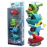 4pcs Octonauts Action Figures Toys Octopod Peso Captain Barnacles Kwazii Shellington Dashi Tweak Inkling Boat Car Kids Gift