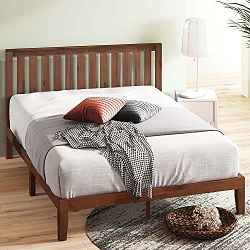 Zinus Vivek 12 Inch Wood Platform Bed with Headboard / No Box Spring Needed / Wood Slat Support / Antique Espresso Finish, Queen,OLB-PWPBHE-12Q,Brown