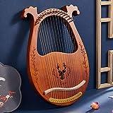 WellingA Lyre Harp, Harpe 16 Cordes en Métal Acajou avec clé de Réglage et Sac de Transport Petit Instrument Portable Lyre d'entrée pour Débutants,001