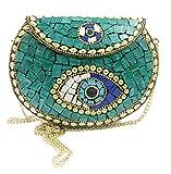 Indiano etnico Verde Pietre metallo frizione/Borsa mosaico frizione Portafoglio borsa partito borsa per le donne Scatola di nozze