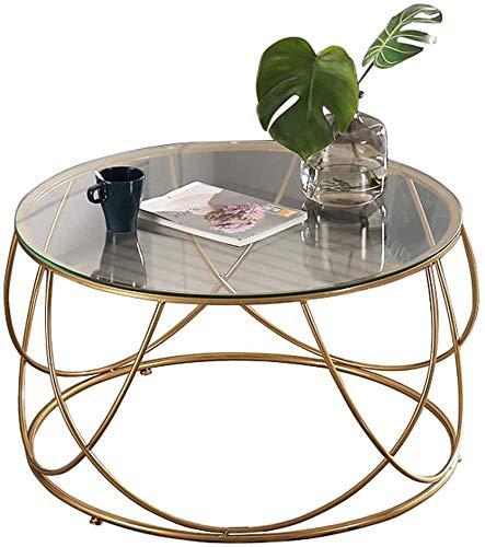 Salón sencilla mesa de café creativa Mesas mesa de café, sofá Ronda de mesa, vidrio templado, transparente color superior, Hierro forjado Marco / Oro, Apartment Home Living (60 cm / 80 cm × 45 cm) mes