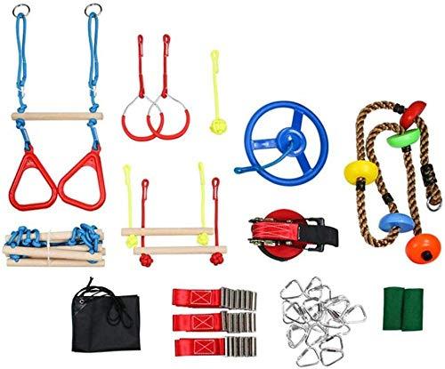 Juego de iniciación Slackline Obstacle Ninja Line para niños de 15 m, Ruta de suspensión, 12 Piezas, Juego Completo de Entrenamiento para niños y niñas.