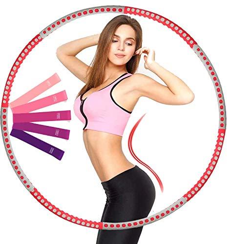 FOAN Hula Hoop Reifen für Erwachsene und Kinder, Upgrade Abnehmbare Fitness Hoop aus Edelstahl Gewichten Einstellbar, Hoola Hoop mit Fitnessbänder für Abnehmen Fitness