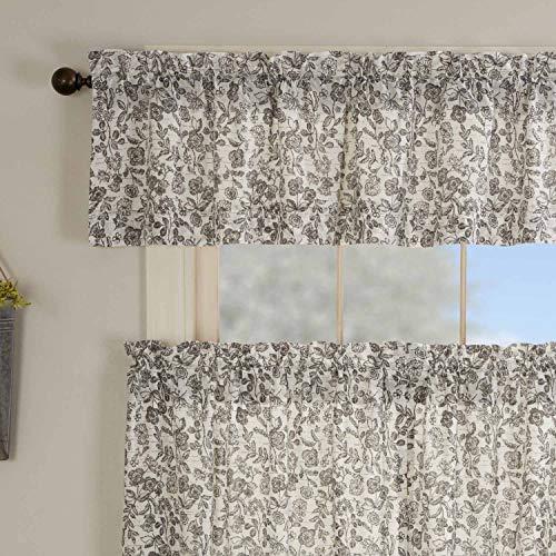 "Gray Gables Floral Valance Curtains, 16"" L x 72"" W, Botanical Print, Farmhouse Vintage Country Cottage, Kitchen Window Curtain"