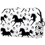 Bolsa de maquillaje divertida para mujer y niña, bolsa de cosméticos espaciosa con cremallera, color negro, gris y blanco