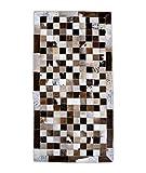 Zerimar Alfombra Piel de Vaca | Alfombra Patchwork Piel de Vaca | Medidas: 120x60 cm | Alfombra Salón | Alfombra Decoracion | Alfombra Dormitorio | Alfombra Natural | Alfombra Vaca