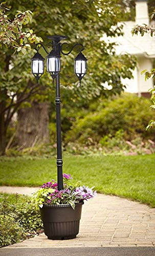 Removable 3-Head LED Solar Lamp Post Street Light Black Light Pole with Planter Décor Decorations for Backyard Patio Porch Outdoor Yard - 6.7 ft (80 in) Black