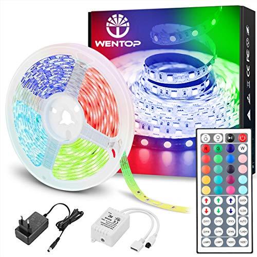 WenTop LED Streifen 10m RGB LED Strip SMD 5050 Leds mit Fernbedienung, Netzteil, für zu Hause, Schlafzimmer, TV, Festival, Beleuchtung und Partydekoration