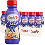 Premier Protein Shake with Oats, Blueberries & Cream, 20g Protein, 7g Fiber, 1g Sugar, 24 Vitamins & Minerals, Smooth & Creamy Breakfast Drink 11.5 fl oz, 12 Pack