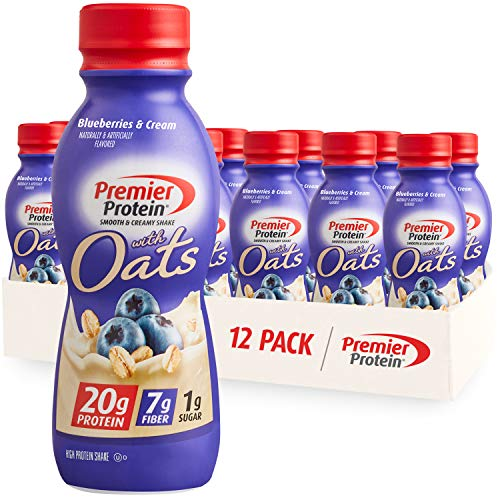 Premier Protein Shake with Oats Blueberries amp Cream 20g Protein 7g Fiber 1g Sugar 24 Vitamins amp Minerals Smooth amp Creamy Breakfast Drink 115 fl oz 12 Pack