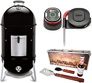 Weber Smokey Mountain Cooker 18-Inch Smoker (Black) Ultimate Bundle (3 Items)