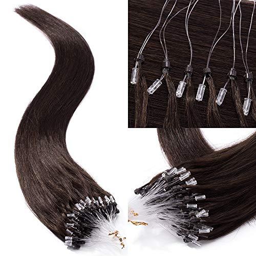 TESS Microring Extensions Echthaar Loop Haarverlängerung 0,5g Remy Human Hair Extensions 100 Strähnen 50g 50cm(#2 Dunkelbraun)
