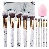 SEPROFE Make Up Brushes 10 Pieces Marble Pattern Professional Makeup Brush Set Kabuki Foundation Ble...