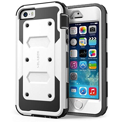 i-Blason Funda Compatible con iPhone SE/5S/5, Funda Protectora 360 Grados, Carcasa Resistente [Armorbox] con Protector de Pantalla Integrado, Color Negro