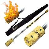 Pro - Bastón de fuego (120 cm, 2 x 100 mm mecha) + Flames N Games bolsa de viaje
