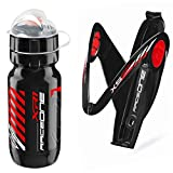 Raceone.it - Kit Race Duo X5 Gel (2 PCS): Porta Bidon X5 + Bidon de Ciclismo XR1 Bici Carrera de Ruta/Bicicleta de Montaña MTB/Gravel Bike. Color: Negro/Rojo 100% Made IN Italy