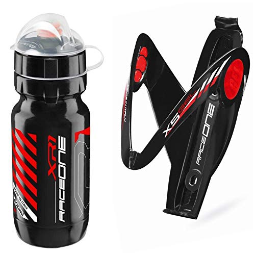 Raceone.it - Kit Race Duo X5 Gel: Portaborraccia X5 + Borraccia XR1 Ideale per Bici Race/MTB/Gravel/Trekking Bike. Colore: Nero/Rosso 100% Made in Italy (RO_Kit_2_X5_Blk/Red_IceRed