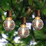 Afirst Dimmable LED Outdoor String Lights - 50FT with 52 Shatterproof Bulbs Weatherproof Globe String Lights for Patio Backyard Garden Party Lighting Decor. Black