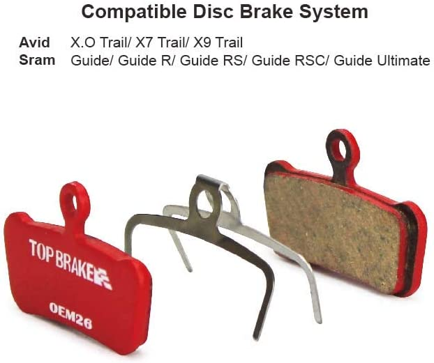 E-Bike Power Stop Compound,Organic Resin Ceramic Compound Top Brake Disc Brake Pads for AVID X.O X7 X9 Trail SRAM Guide R RS RSC Ultimate